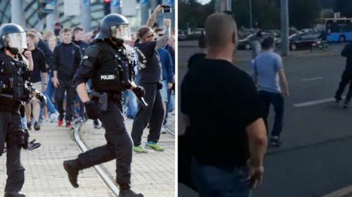 ظهرت فيديوهات نُشرت على شبكات التواصل الاجتماعي عن أحداث يوم الأحد، إطلاق المحتجين ألفاظاً عنصرية وصيحات «نحن الشعب» و «اخرجوا من مدينتنا»، واشتباكهم مع الشرطة التي كانت متواجدة بأعداد قليلة، وتهجمهم على الأجانب.