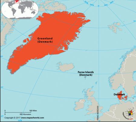 گرینلند بزرگترین جزیره کره زمین و بخشی از قاره آمریکا به حساب میآید اما پس از قرن نوزدهم مستعمره دانمارک بوده و کم و بیش اروپائی است. بیشتر مردمان گرینلند از نژاد بومیانی هستند که قرنها پیش از کانادا به این جزیره نقل مکان کردهاند.